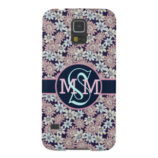 Pretty Floral Pattern w/Initial Monogram Galaxy S5 Covers
