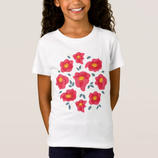 Pretty Floral Pattern With Bright Pink Petals Girl T-Shirt
