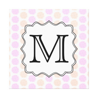Pretty Floral Pattern with Custom Monogram Letter. Canvas Print