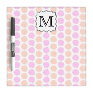 Pretty Floral Pattern with Custom Monogram Letter. Dry Erase Board
