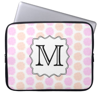 Pretty Floral Pattern with Custom Monogram Letter. Laptop Sleeve