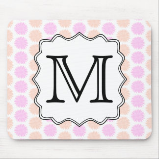 Pretty Floral Pattern with Custom Monogram Letter. Mouse Pad