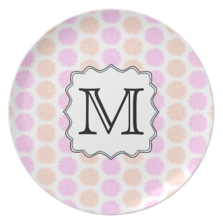 Pretty Floral Pattern with Custom Monogram Letter. Plate