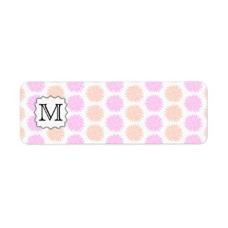 Pretty Floral Pattern with Custom Monogram Letter. Return Address Label