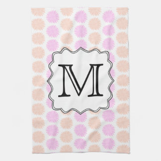 Pretty Floral Pattern with Custom Monogram Letter. Tea Towel