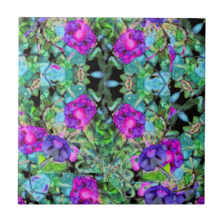 Pretty Floral Purple Morning Glories Watercolor Ceramic Tiles