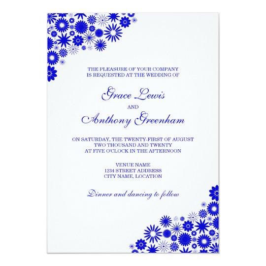 Pretty Floral Royal Blue Wedding Card