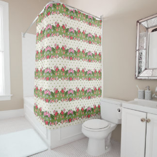 Pretty Floral Striped Pattern Shower Curtain
