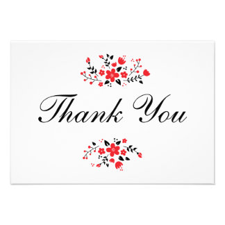 Pretty Floral Stylish Flat Thank You Card Red