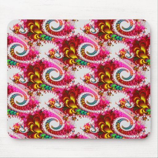 Pretty Floral Swirls Hot Pink Fractal Unique Gifts Mousepads