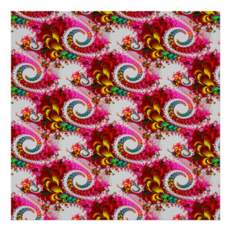 Pretty Floral Swirls Hot Pink Fractal Unique Gifts Print