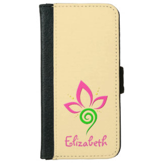 Pretty Floral Symbol Design Personalized iPhone 6 Wallet Case