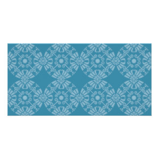 Pretty Floral Teal Pattern Photo Card Template
