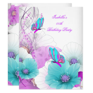 Pretty Floral Teal Pink Butterfly Birthday Party Card