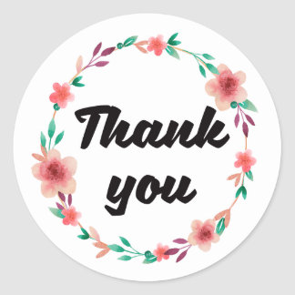 Pretty floral Thank you wedding product sticker