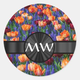 Pretty floral Tulip flowers Round Sticker