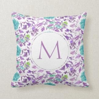 Pretty Floral Turquoise Violet Custom Monogram Cushion