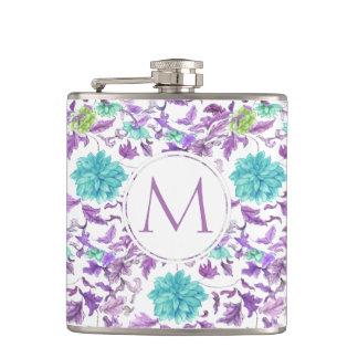 Pretty Floral Turquoise Violet Custom Monogram Hip Flask