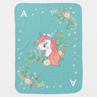 Pretty Floral Unicorn Monogrammed Baby Blanket