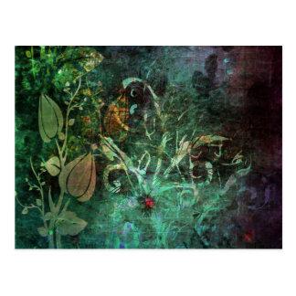 Pretty Floral Vine Abstract Grunge Design Postcard