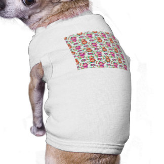 Pretty Floral Wallpaper Pattern Sleeveless Dog Shirt