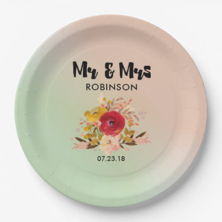 Pretty Floral Watercolor Bouquet Wedding Mr & Mrs 9 Inch Paper Plate