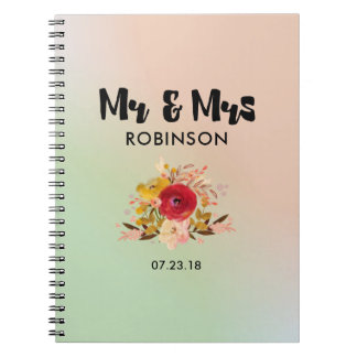 Pretty Floral Watercolor Bouquet Wedding Mr & Mrs Notebook