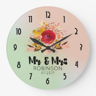 Pretty Floral Watercolor Bouquet Wedding Mr & Mrs Wall Clock