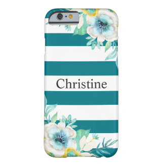 Pretty Floral Watercolor Stylish Teal White Barely There iPhone 6 Case