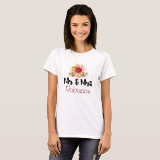 Pretty Floral Wildflowers in Watercolor Mr and Mrs T-Shirt