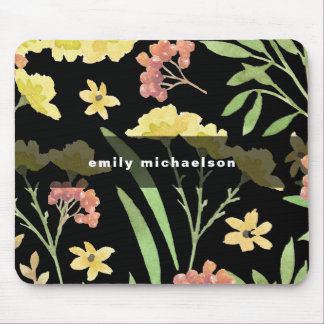 Pretty Floral with Add Name on Black Mouse Mat