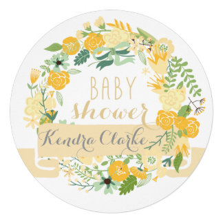 PRETTY FLORAL WREATH BABY SHOWER INVITATION