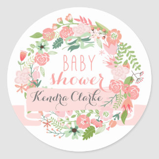 PRETTY FLORAL WREATH | BABY SHOWER STICKERS