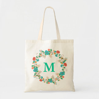 Pretty Floral Wreath Monogram Tote Bag