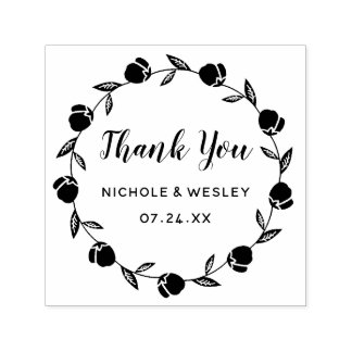 Pretty Floral Wreath   Self-Inking Stamp