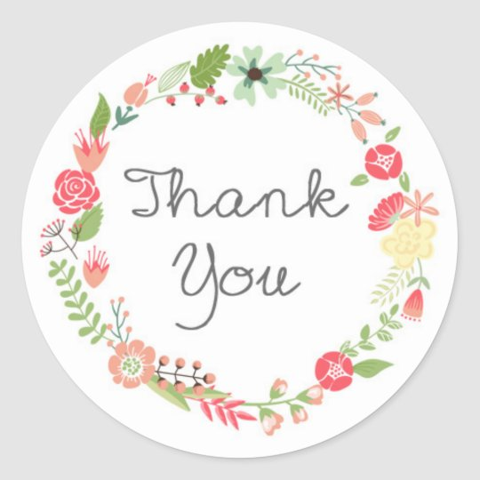 Pretty Floral Wreath Thank You Sticker