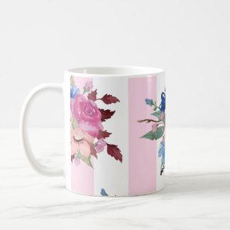 Pretty flower design basic white mug