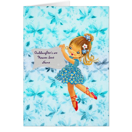 Pretty Flower Fairy Goddaughter Gift Personalized Card