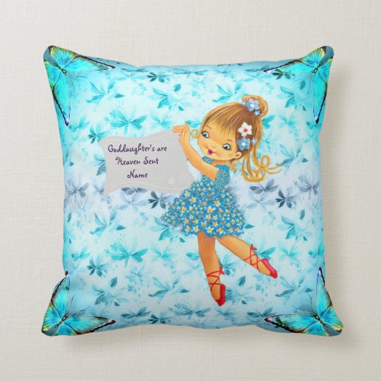 Pretty Flower Fairy Goddaughter Gift Personalized Throw Pillow