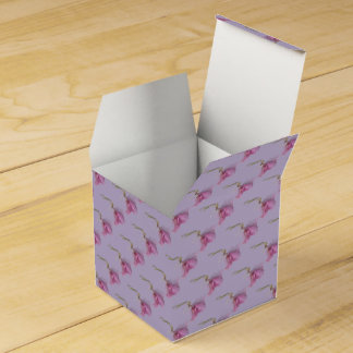 Pretty flower floral pink purple green favour box