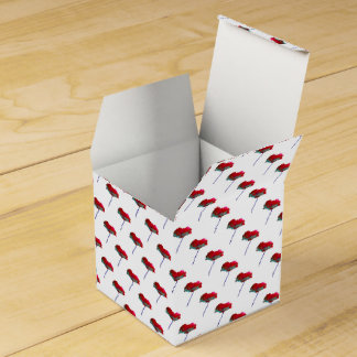 Pretty flower floral red white poppy party favour boxes