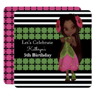 Pretty Flower Girl Birthday Party Invitation