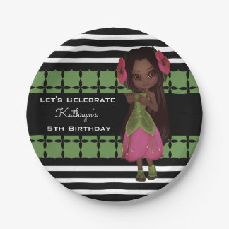 Pretty Flower Girl Custom Birthday Paper Plate