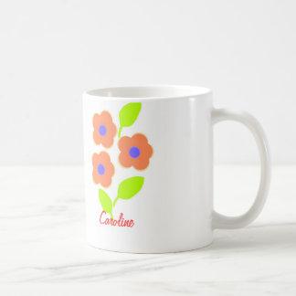 Pretty Flower mug with name