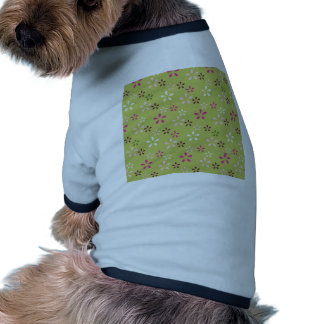 Pretty Flower Pattern Pink and Green Gifts Doggie T-shirt