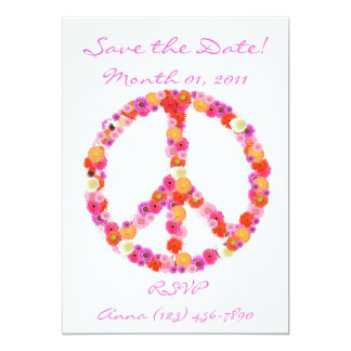 Pretty Flower Peace Sign Invitations