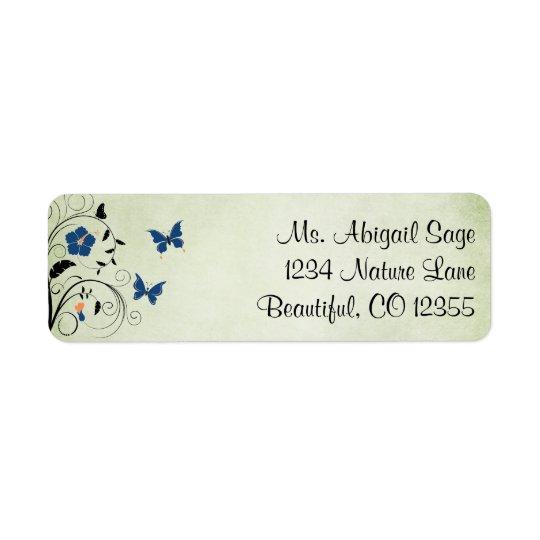 Pretty Flowers and Butterflies Address Return Address Label