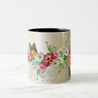 Pretty flowers and butterflies Two-Tone mug
