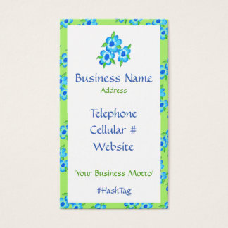 Pretty Flowers And Stripe Business Card