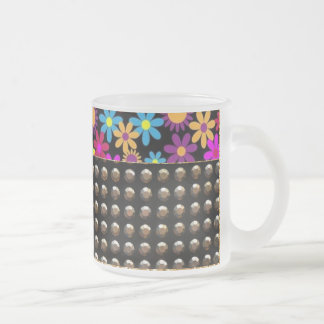 Pretty Flowers And Studs Pattern Frosted Glass Mug
